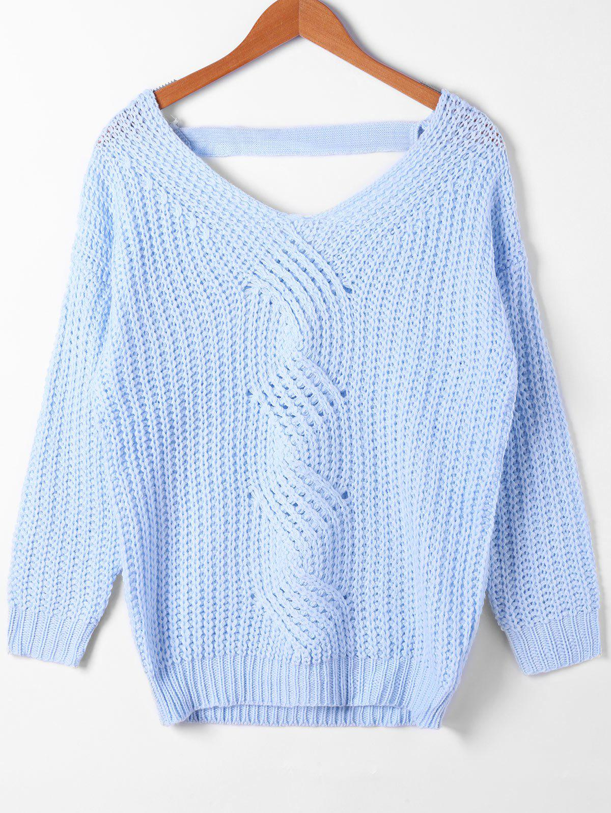 Online Cut Out Cable Knit V Neck Sweater