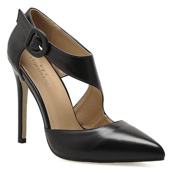 Discount Point Toe Ankle Buckle Strap Pumps
