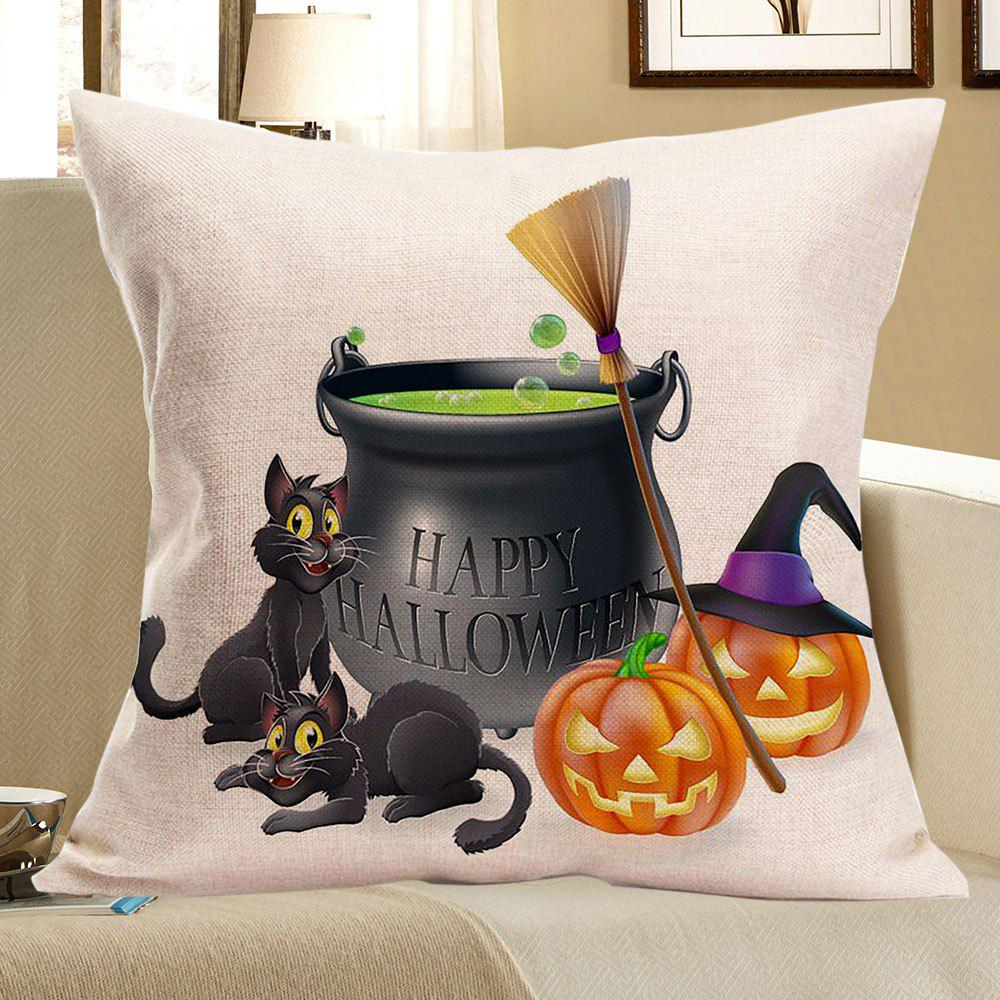 Halloween Cats Pumpkins Happy Party Printed Pillow CaseHOME<br><br>Size: W18 INCH * L18 INCH; Color: COLORFUL; Material: Linen; Fabric Type: Linen; Pattern: Animal,Pumpkin; Style: Festival; Shape: Square; Size(CM): 45 x 45; Weight: 0.0700kg; Package Contents: 1 x Pillow Case;