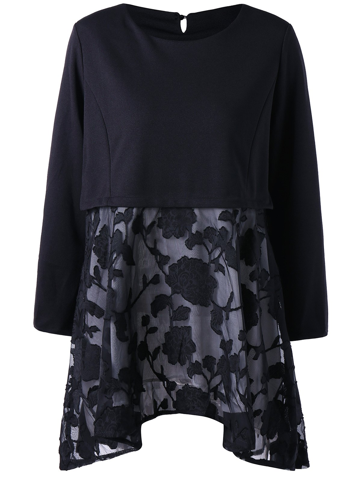 Mesh Panel Embroidery Plus Size Tunic TopWOMEN<br><br>Size: 5XL; Color: BLACK; Material: Polyester,Spandex; Shirt Length: Long; Sleeve Length: Full; Collar: Round Neck; Style: Fashion; Season: Fall,Spring; Embellishment: Embroidery; Pattern Type: Solid; Weight: 0.3700kg; Package Contents: 1 x Top;