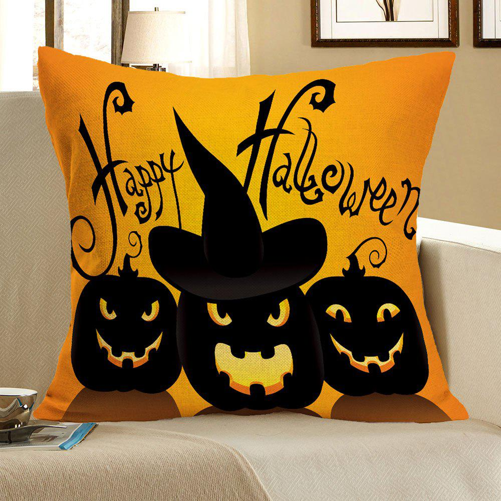 Halloween Pumpkin Skulls Pattern Square Pillow CaseHOME<br><br>Size: W18 INCH * L18 INCH; Color: BLACK AND ORANGE; Material: Linen; Pattern: Pumpkin,Skull; Style: Festival; Shape: Square; Weight: 0.0700kg; Package Contents: 1 x Pillow Case;