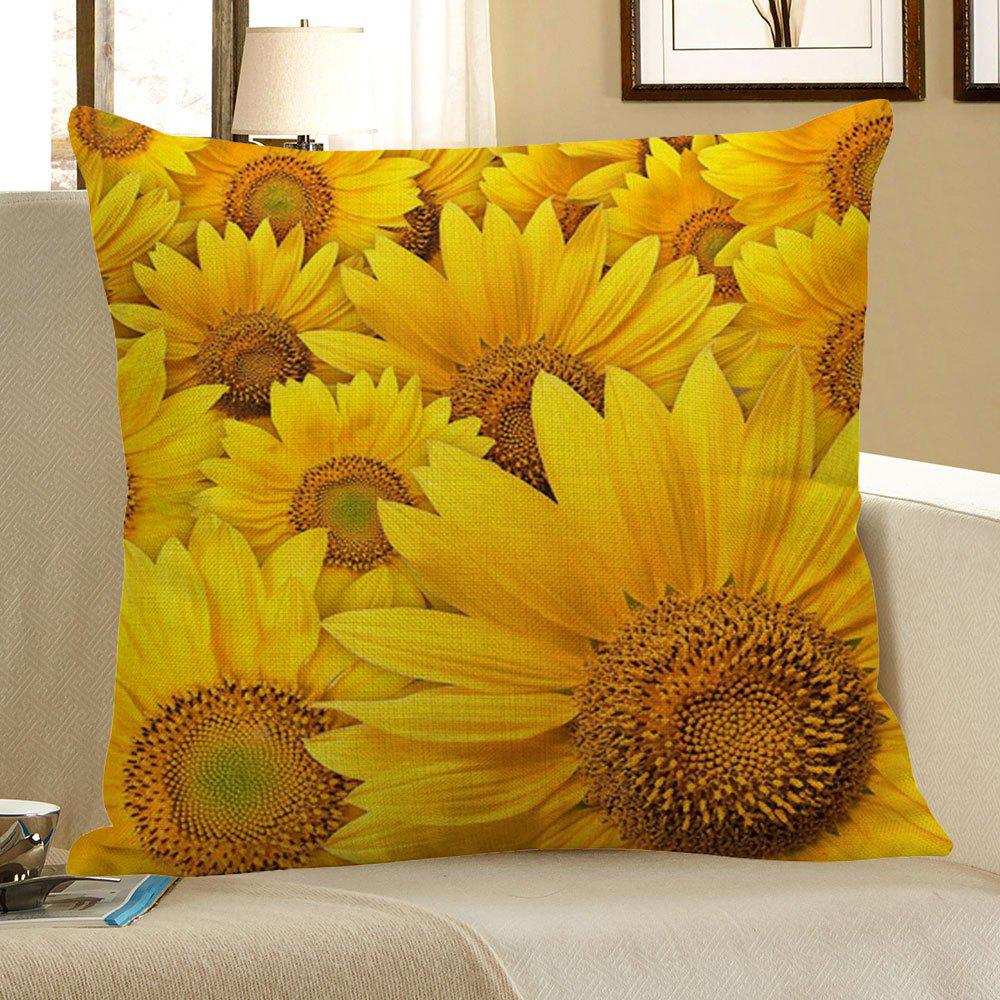 Multi Sunflowers Pattern Square Pillow CaseHOME<br><br>Size: W18 INCH * L18 INCH; Color: YELLOW; Material: Linen; Pattern: Floral; Style: Natural; Shape: Square; Weight: 0.0700kg; Package Contents: 1 x Pillow Case;