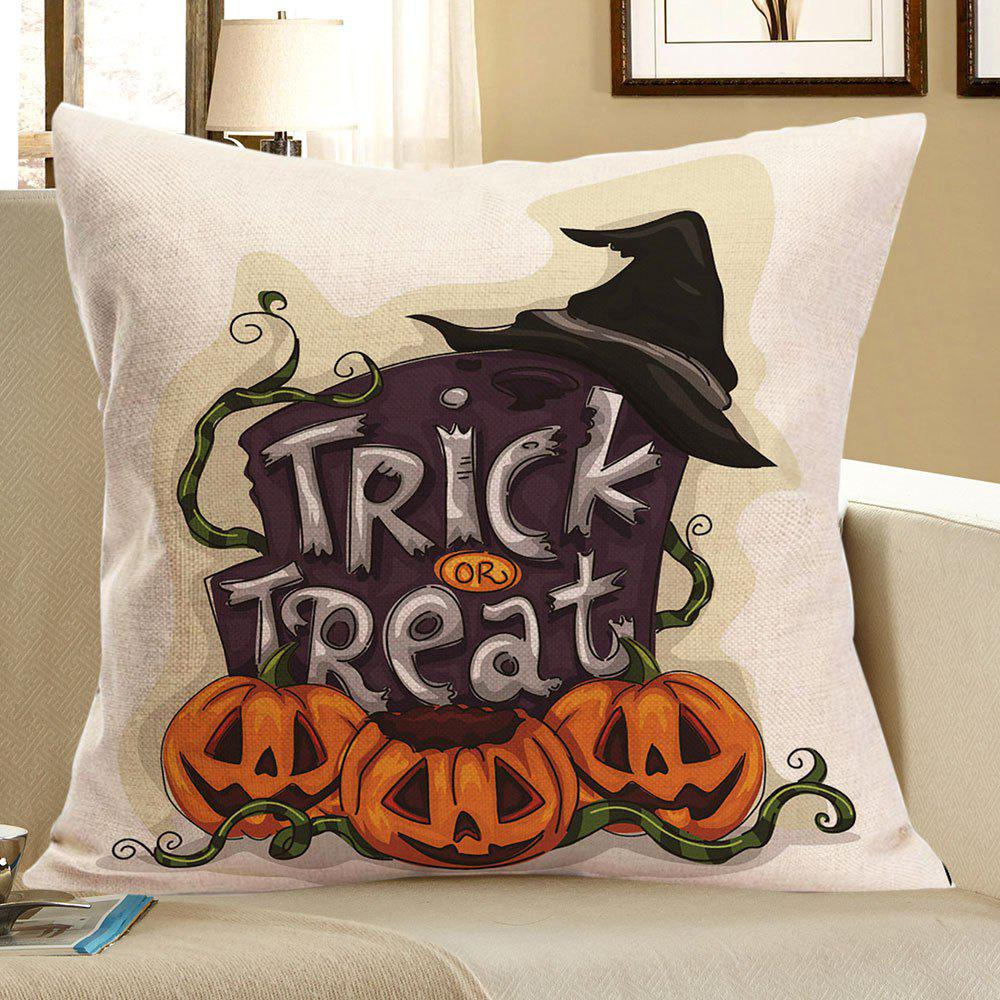 Trick Or Treat Pumpkin Halloween Printed Pillow CaseHOME<br><br>Size: W18 INCH * L18 INCH; Color: COLORFUL; Material: Linen; Fabric Type: Linen; Pattern: Letter,Pumpkin; Style: Festival; Shape: Square; Size(CM): 45 x 45; Weight: 0.0700kg; Package Contents: 1 x Pillow Case;