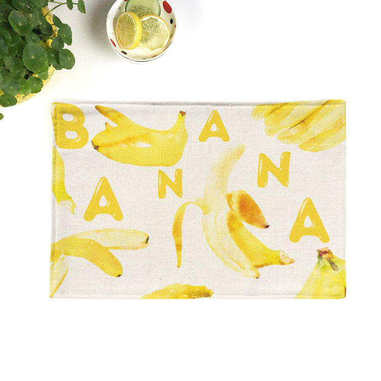 Fruit Print Table Linen Decorative PlacematHOME<br><br>Size: 28*44CM; Color: BRIGHT YELLOW; Type: Placemats; Material: Linen; Pattern Type: Print; Weight: 0.0450kg; Package Contents: 1 x Placemat;