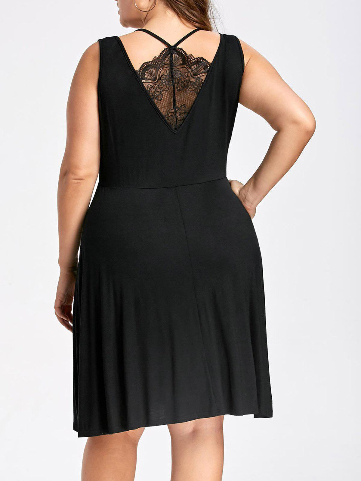 Plus Size Sleeveless Lace Trim Skater DressWOMEN<br><br>Size: 4XL; Color: BLACK; Style: Brief; Material: Polyester,Spandex; Silhouette: A-Line; Dresses Length: Knee-Length; Neckline: V-Neck; Sleeve Length: Sleeveless; Embellishment: Lace; Pattern Type: Solid Color; With Belt: No; Season: Fall,Spring,Summer; Weight: 0.3300kg; Package Contents: 1 x Dress;
