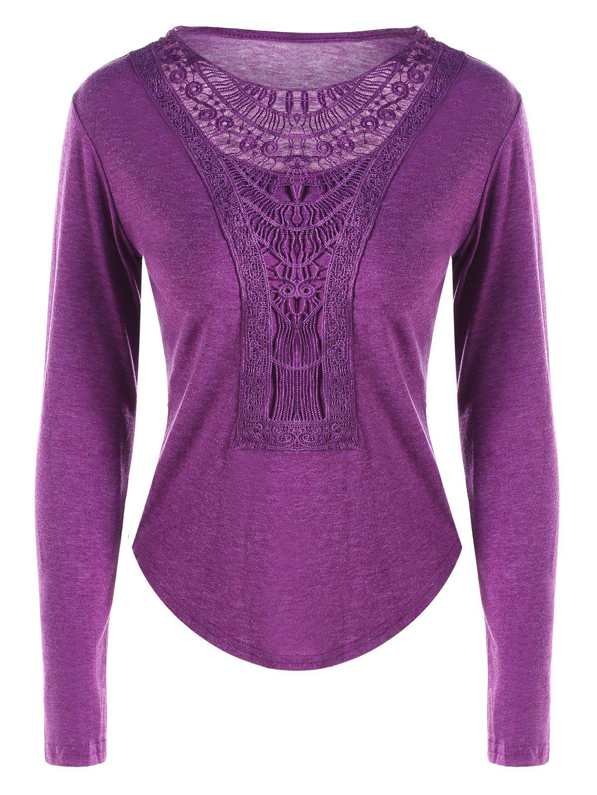 Lace Trim Curved Hem TopWOMEN<br><br>Size: L; Color: PURPLE; Material: Polyester,Spandex; Shirt Length: Regular; Sleeve Length: Full; Collar: Round Neck; Style: Casual; Embellishment: Lace; Pattern Type: Solid Color; Season: Fall,Spring; Weight: 0.2800kg; Package Contents: 1 x Top;