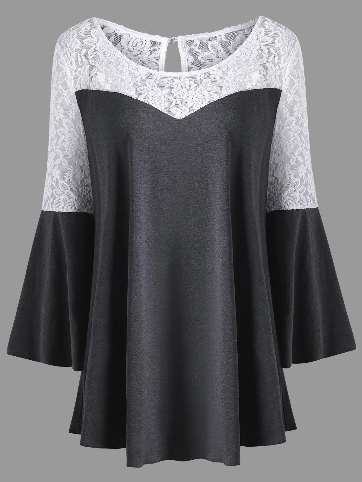 Plus Size Lace Panel Flare Sleeve TopWOMEN<br><br>Size: 2XL; Color: COLORMIX; Material: Polyester,Spandex; Shirt Length: Long; Sleeve Length: Full; Collar: Scoop Neck; Style: Fashion; Season: Fall,Spring; Sleeve Type: Flare Sleeve; Embellishment: Lace,Panel; Pattern Type: Others; Weight: 0.3000kg; Package Contents: 1 x Blouse;