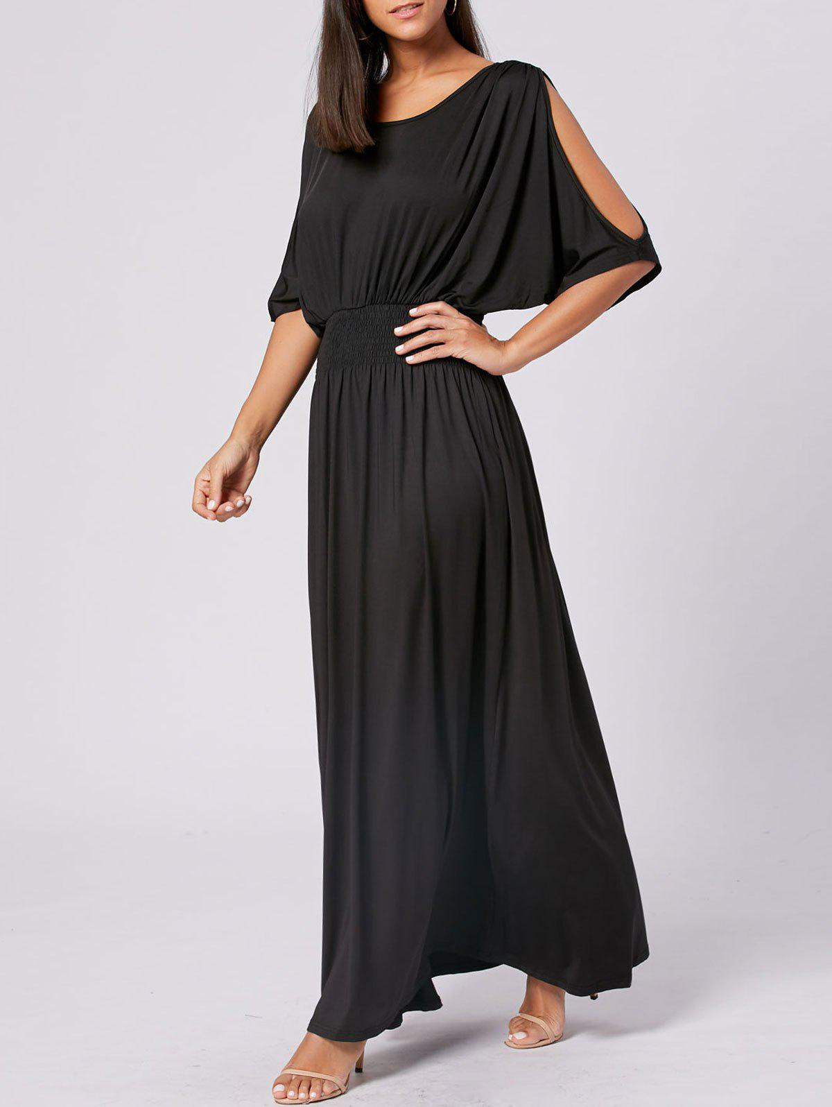 High Waist Slit Sleeve Maxi Party DressWOMEN<br><br>Size: 2XL; Color: BLACK; Style: Brief; Material: Cotton,Polyester; Silhouette: A-Line; Dresses Length: Floor-Length; Neckline: Scoop Neck; Sleeve Length: 3/4 Length Sleeves; Pattern Type: Solid Color; With Belt: No; Season: Fall,Spring; Weight: 0.5300kg; Package Contents: 1 x Dress;