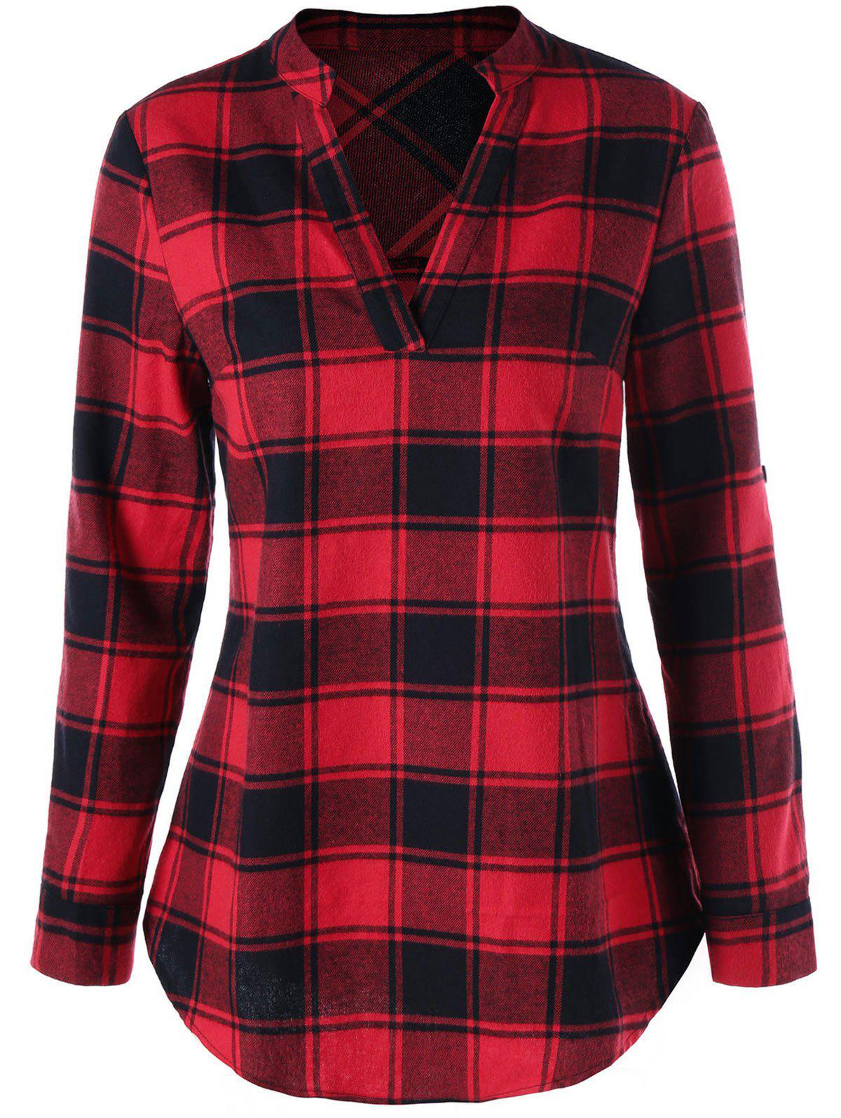 Split Neck Curved Hem Plaid BlouseWOMEN<br><br>Size: 2XL; Color: RED; Occasion: Casual; Style: Casual; Material: Rayon; Shirt Length: Long; Sleeve Length: Full; Collar: V-Neck; Pattern Type: Plaid; Season: Fall,Spring; Weight: 0.2700kg; Package Contents: 1 x Blouse;