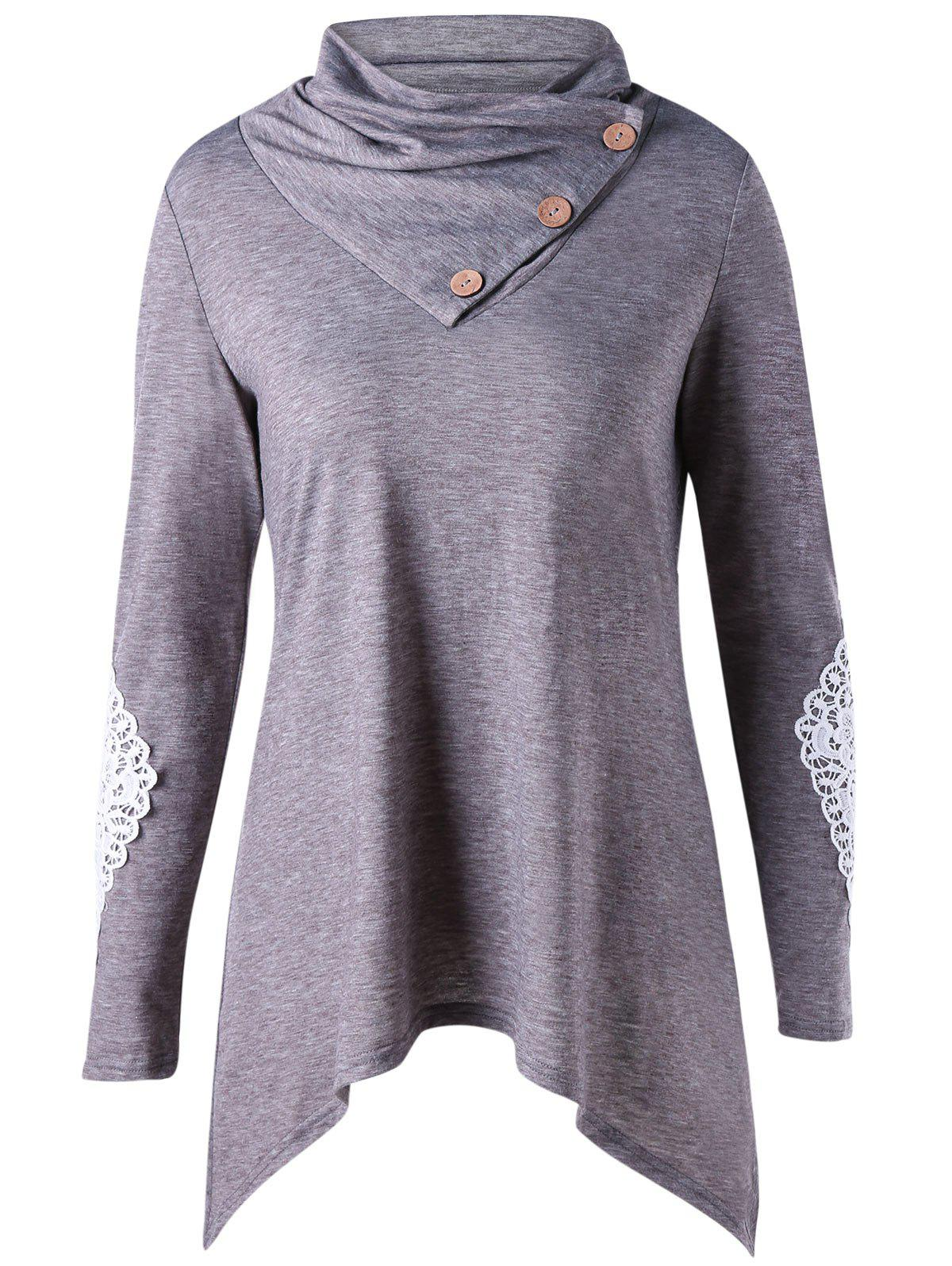 Cheap Long Sleeve Applique Asymmetrical Top