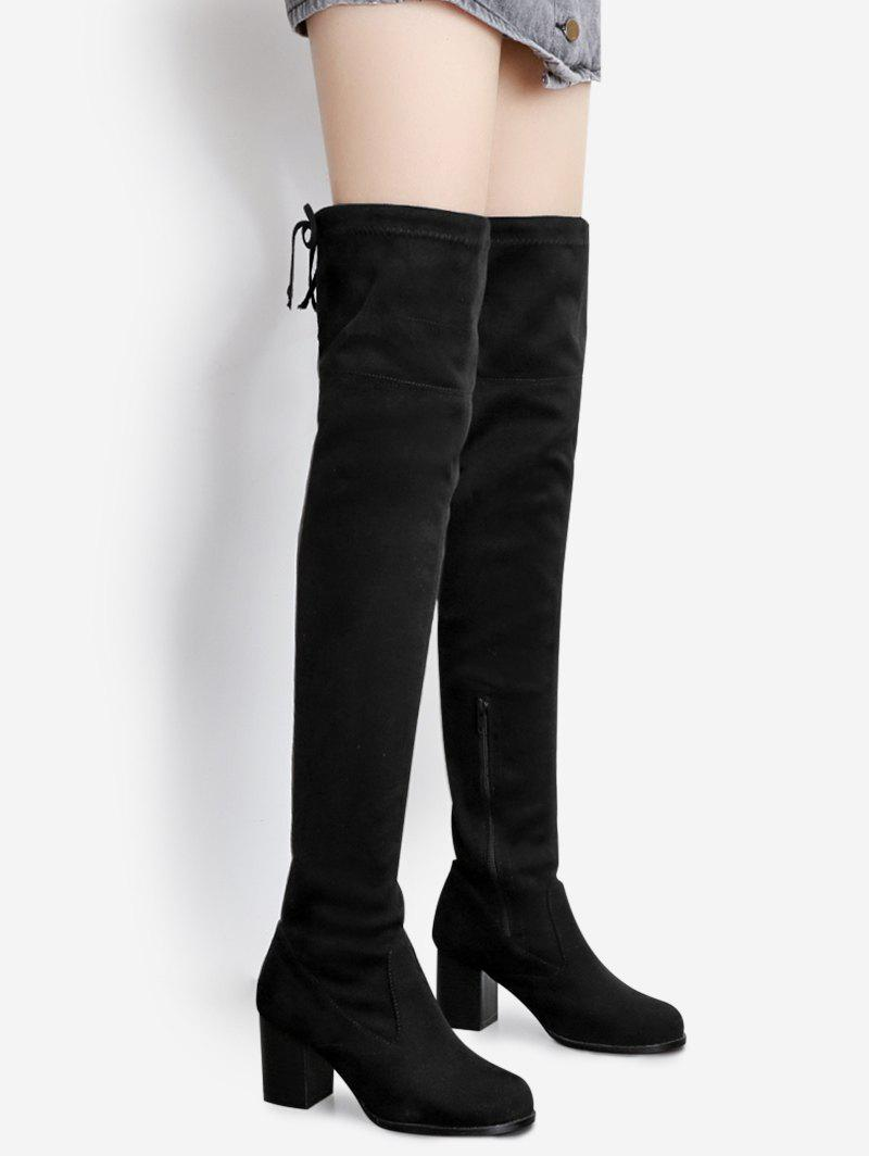 Pointed Toe Tie Up Over The Knee BootsSHOES &amp; BAGS<br><br>Size: 40; Color: BLACK; Gender: For Women; Boot Type: Fashion Boots; Season: Spring/Fall; Boot Height: Over-the-Knee; Toe Shape: Pointed Toe; Heel Type: Chunky Heel; Boot Tube Height: 57CM; Heel Height Range: Med(1.75-2.75); Heel Height: 7CM; Pattern Type: Solid; Closure Type: Lace-Up; Shoe Width: Medium(B/M); Upper Material: Suede; Weight: 1.7500kg; Package Contents: 1 x Boots (pair);