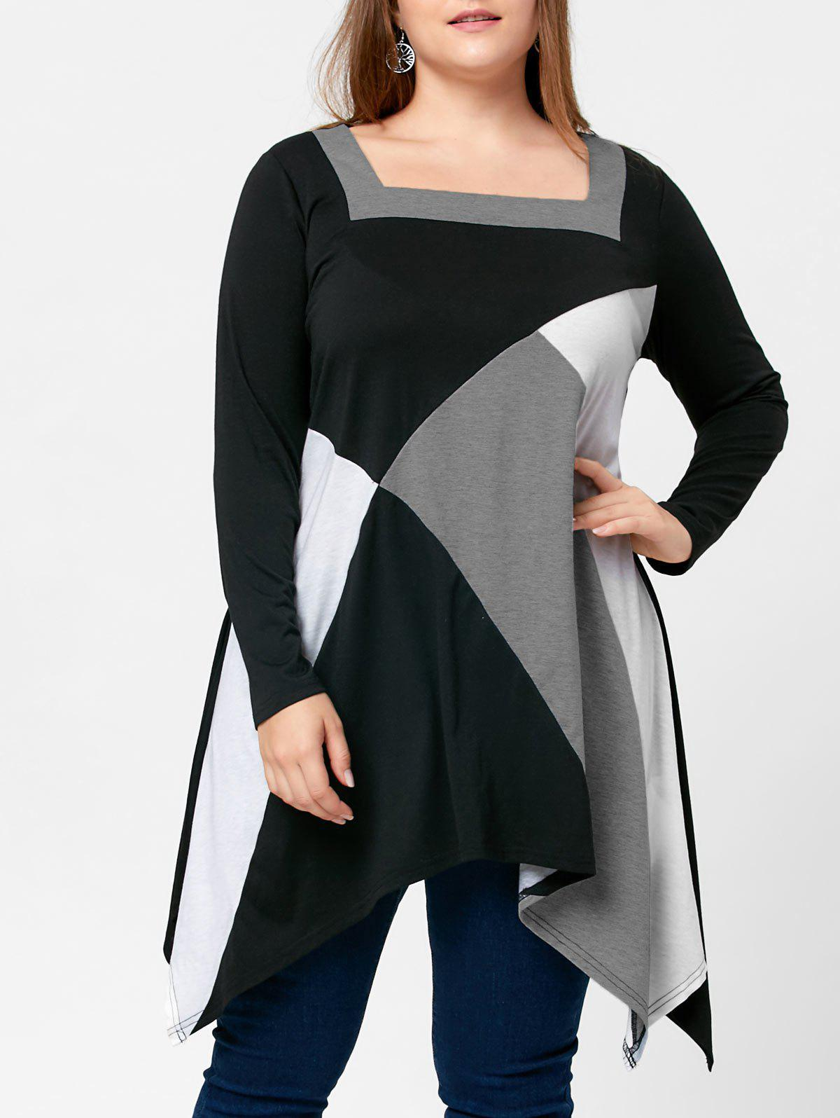 Plus Size Square Neck Handkerchief T-shirtWOMEN<br><br>Size: 5XL; Color: BLACK; Material: Polyester,Spandex; Shirt Length: Long; Sleeve Length: Full; Collar: Square Neck; Style: Casual; Season: Fall,Spring; Pattern Type: Others,Solid; Weight: 0.3700kg; Package Contents: 1 x Top;