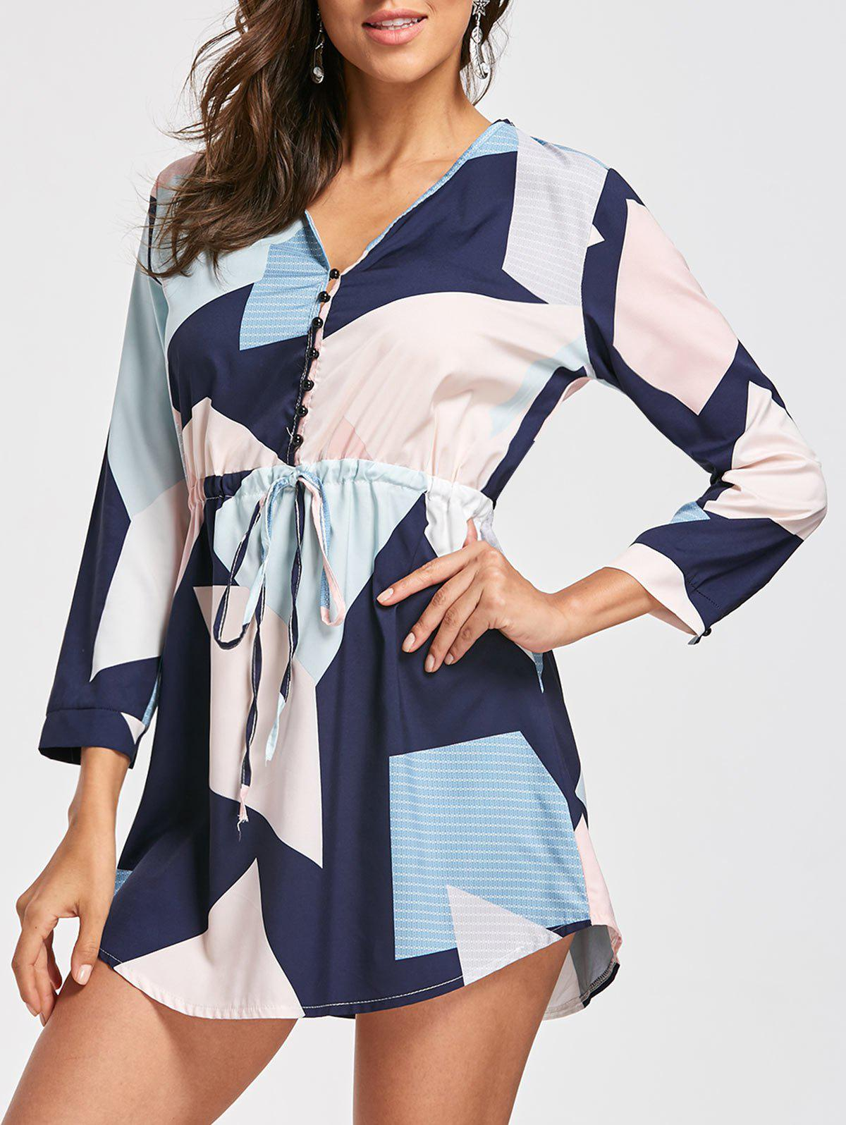 Image of Long Sleeve Graphic Drawstring Dress