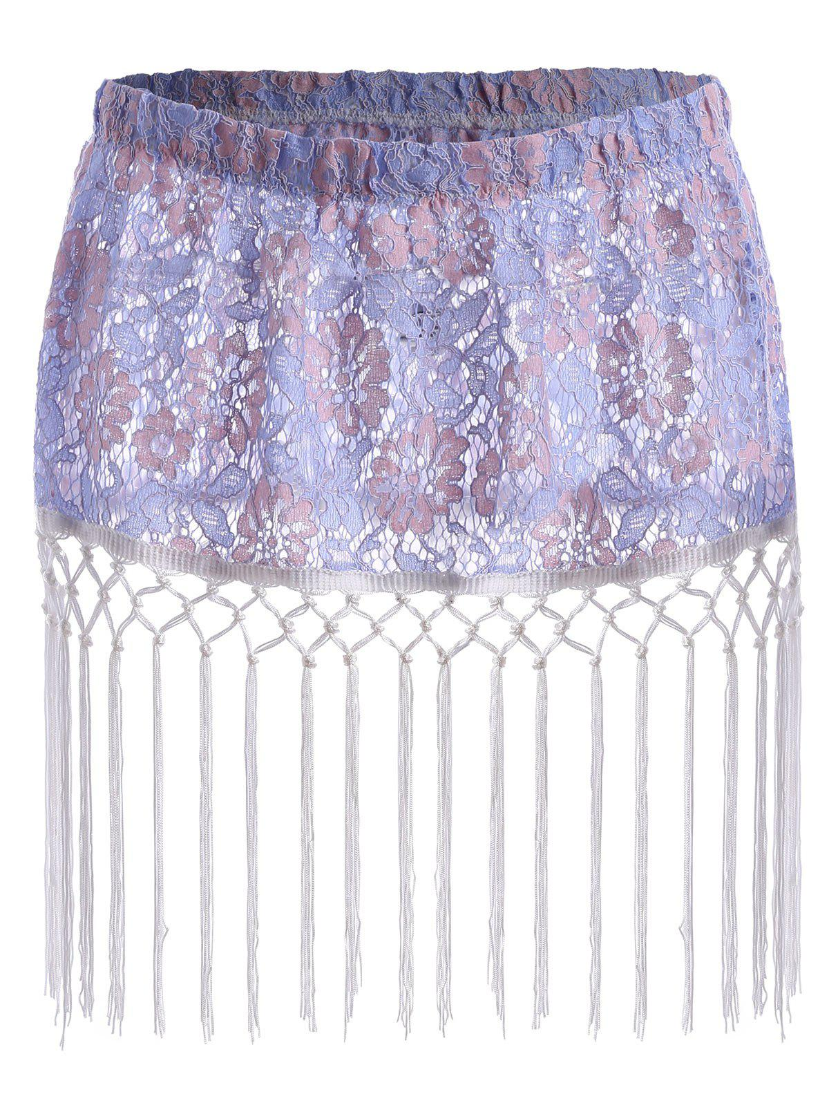Floral Lace Tassel Plus Size Extender Sheer SkirtWOMEN<br><br>Size: 5XL; Color: LIGHT BLUE; Material: Cotton,Polyester; Length: Mini; Silhouette: Straight; Pattern Type: Floral; Season: Fall,Summer; Weight: 0.1650kg; Package Contents: 1 x Skirt;