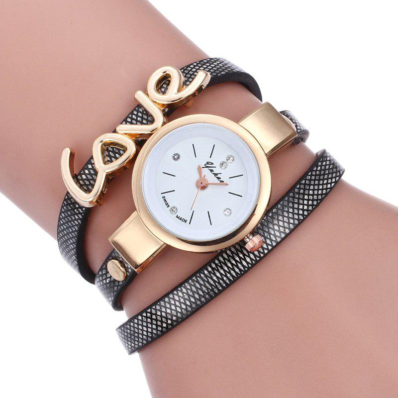 Shop Love Faux Leather Wrap Bracelet Watch