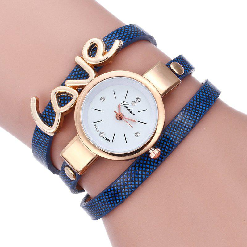 Unique Love Faux Leather Wrap Bracelet Watch