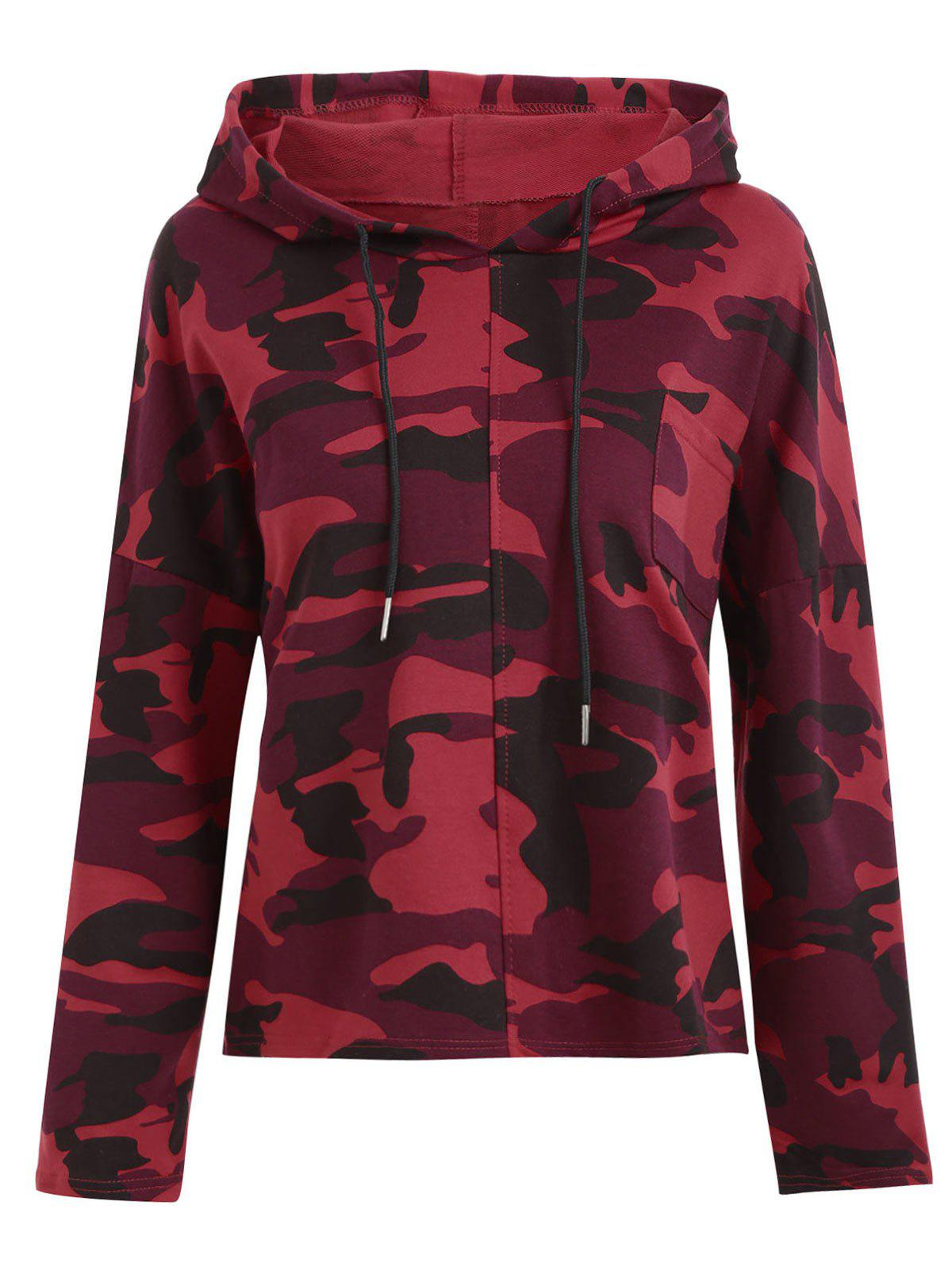 Plus Size Camo Printed Pullover HoodieWOMEN<br><br>Size: 4XL; Color: RED; Material: Cotton Blend,Polyester; Shirt Length: Regular; Sleeve Length: Full; Style: Fashion; Pattern Style: Print; Embellishment: Front Pocket; Season: Fall,Spring,Winter; Weight: 0.3900kg; Package Contents: 1 x Hoodie;
