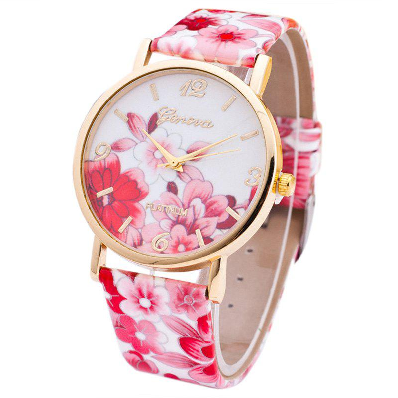 Flowers Print Faux Leather Strap Number WatchJEWELRY<br><br>Color: RED; Gender: For Women; Style: Fashion; Type: Quartz watch; Index Dial: Analog; Case material: Alloy; Band material: PU Leather; Movement: Quartz; Dial Shape: Round; Water-Proof: No; Case Thickness(MM): 10mm; Dial Diameter: 4cm; Band Length(CM): 23cm; Band Width(CM): 2cm; Package Contents: 1 x Watch;