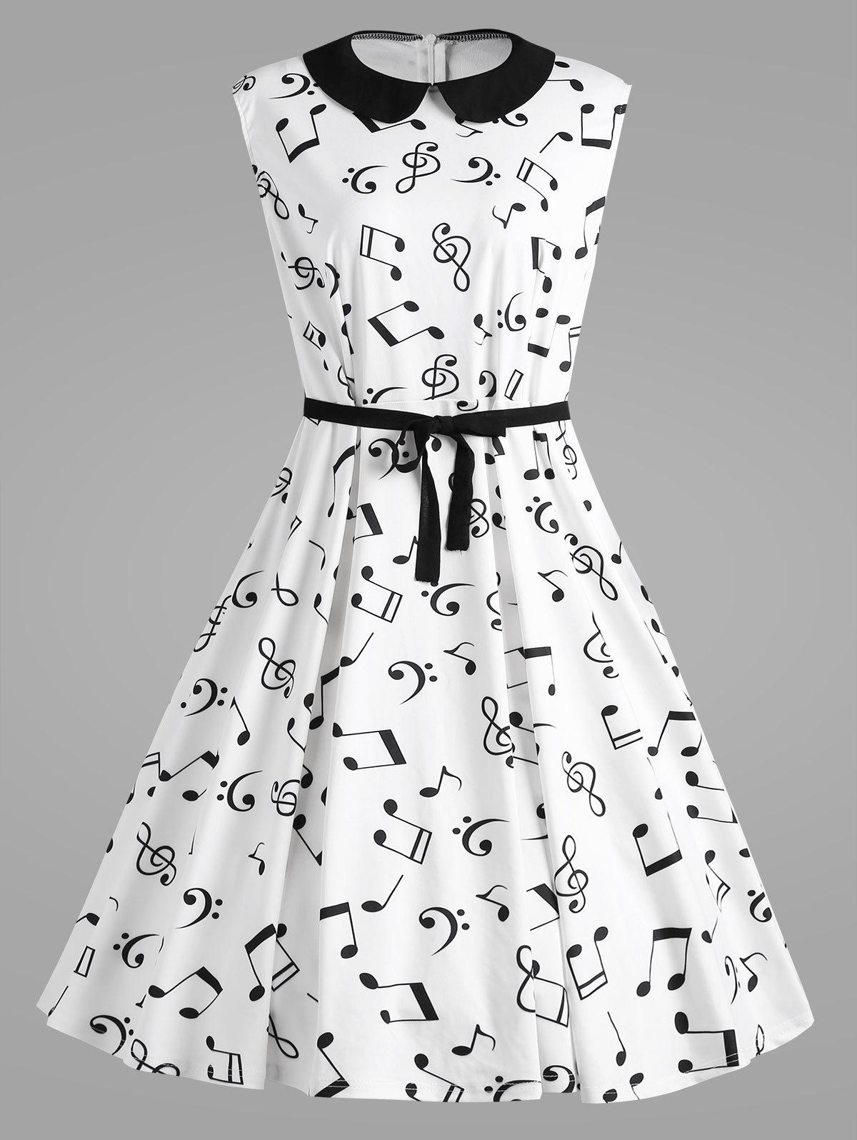 Retro Plus Size Musical Notes Printed DressWOMEN<br><br>Size: 5XL; Color: WHITE; Style: Cute; Material: Cotton Blend,Polyester; Silhouette: A-Line; Dresses Length: Knee-Length; Neckline: Peter Pan Collar; Sleeve Length: Sleeveless; Embellishment: Vintage; Pattern Type: Print; With Belt: Yes; Season: Fall,Spring,Winter; Weight: 0.4200kg; Package Contents: 1 x Dress 1 x Belt;
