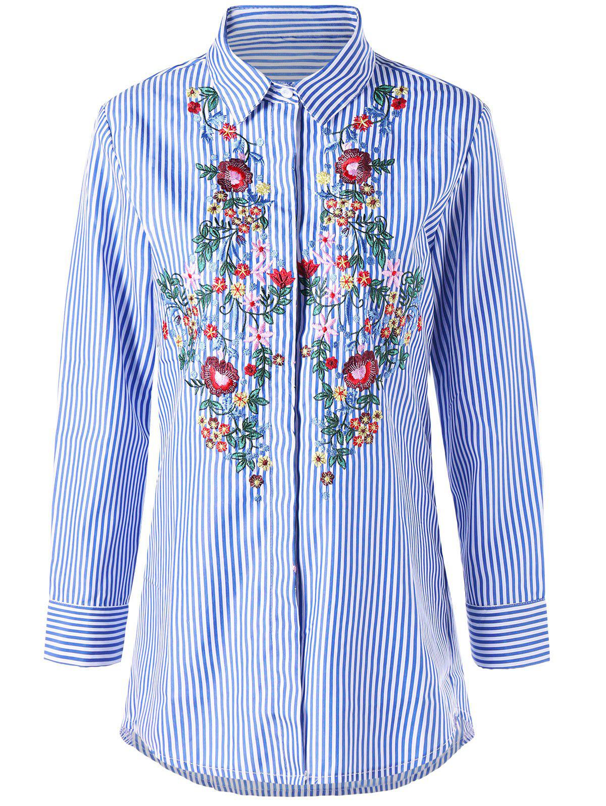 Latest Striped Floral Embroidered Tunic Shirt