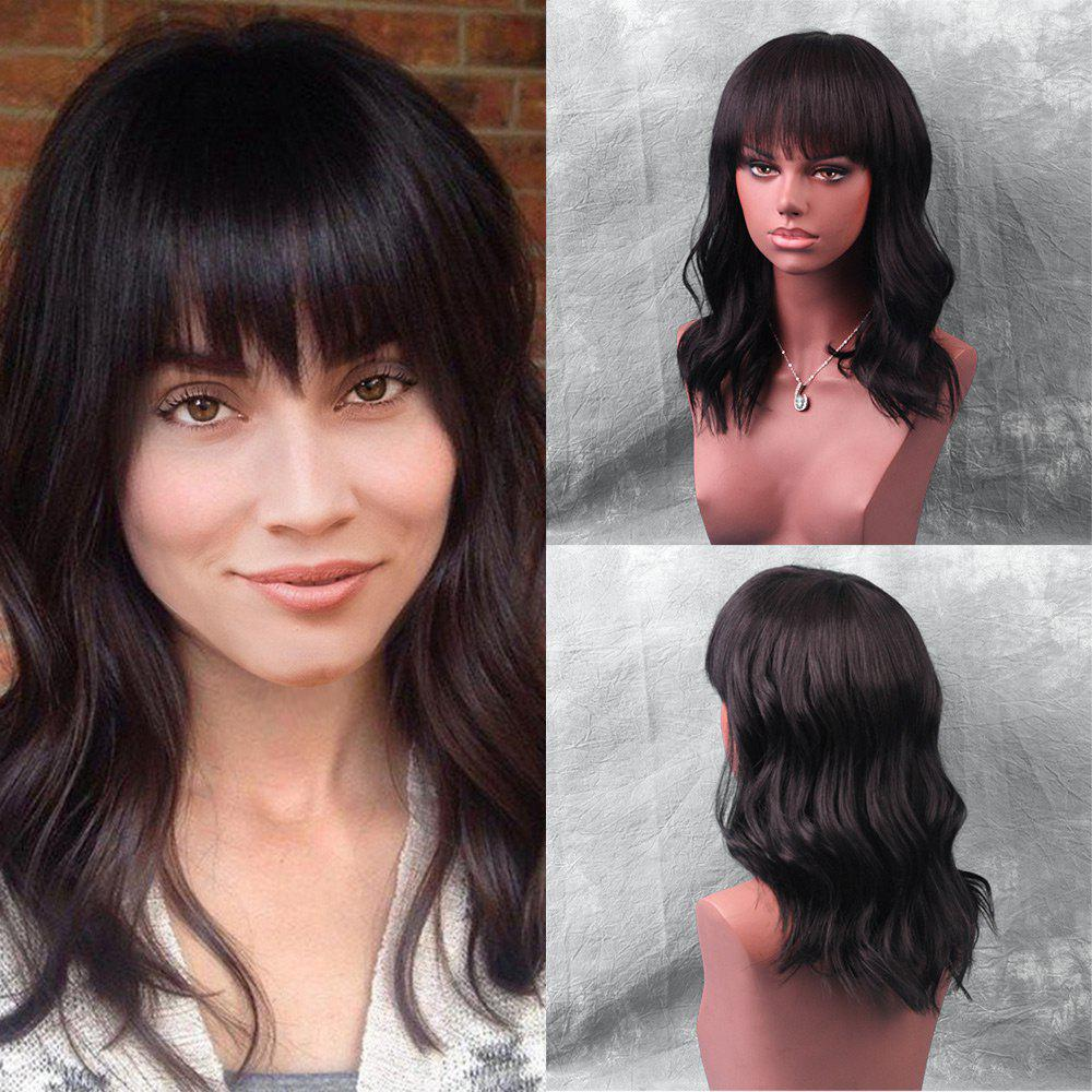 Medium Neat Bang Natural Wave Human Hair WigHAIR<br><br>Size: 45CM; Color: BLACK; Type: Full Wigs; Cap Construction: Capless; Style: Wavy; Cap Size: Average; Material: Human Hair; Bang Type: Full; Length: Medium; Occasion: Daily; Length Size(CM): 45; Weight: 0.2600kg; Package Contents: 1 x Wig;
