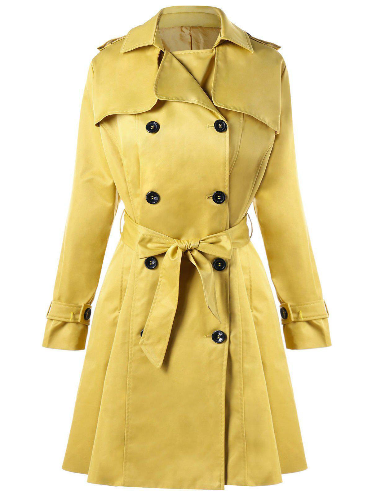Shops Double Breasted Tie Belt Trench Coat