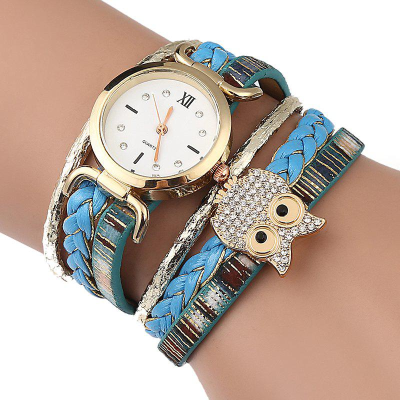 Best Owl Embellished Braided Bracelet Watch