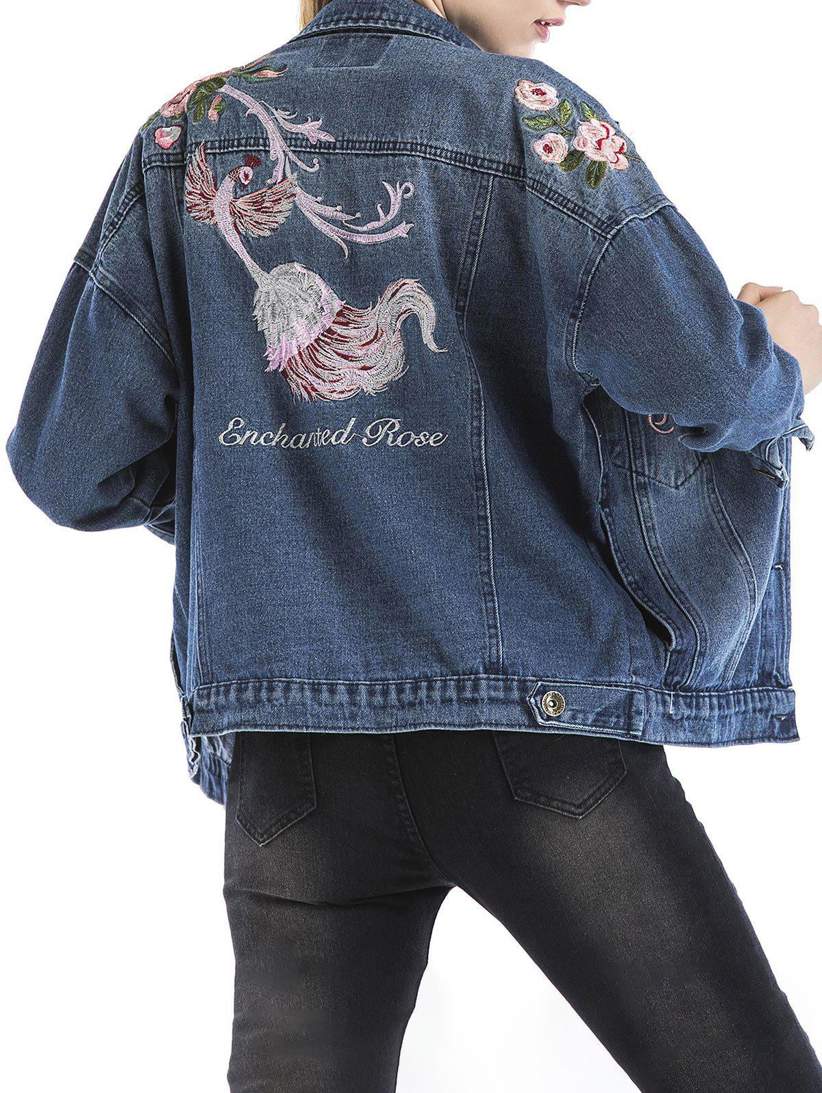 Chic Embroidered Ripped Denim Jacket
