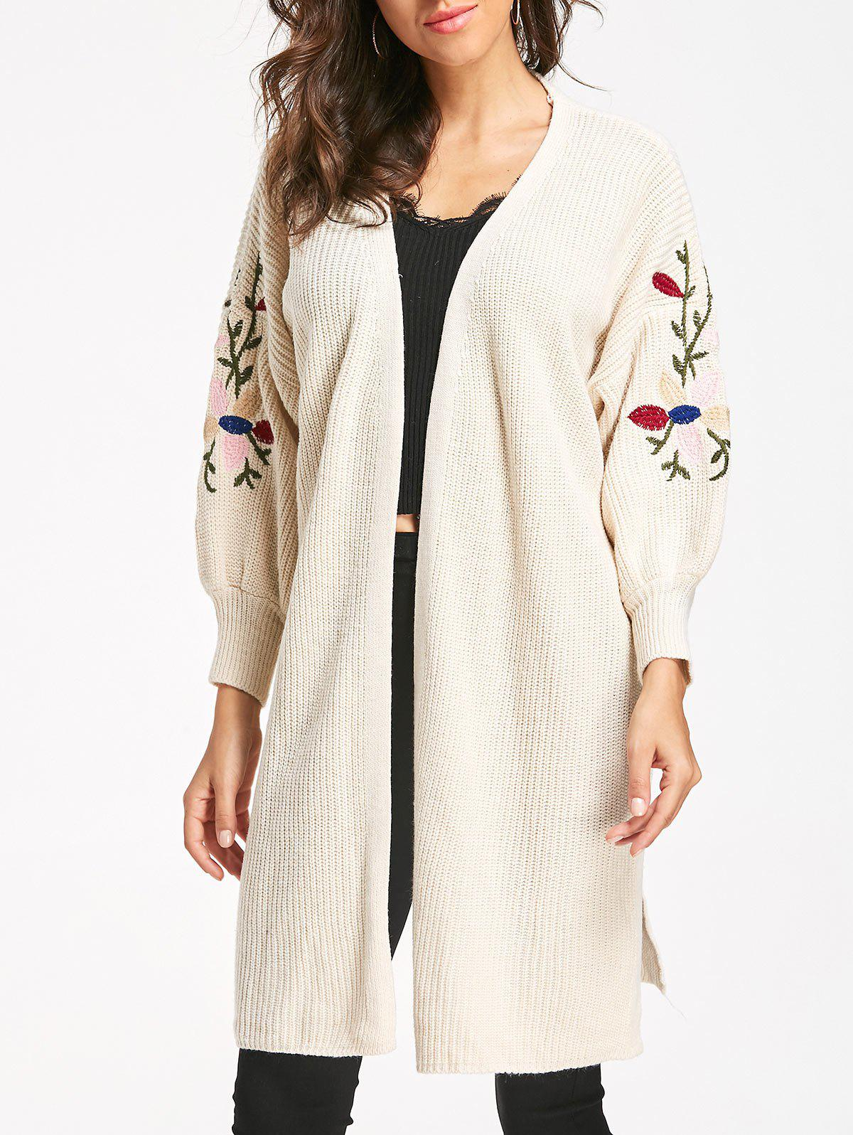 Fashion Cable Knit Embroidered Long Cardigan