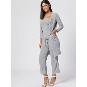 Capri Pant Cami Top with Cardigan Three Piece Knit Suit - GRAY S