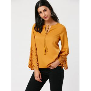 Openwork Flared Sleeve Blouse with Tassel Drawstring -