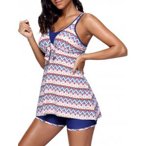 Zigzag Printed Skirted Tankini Set - COLORMIX L