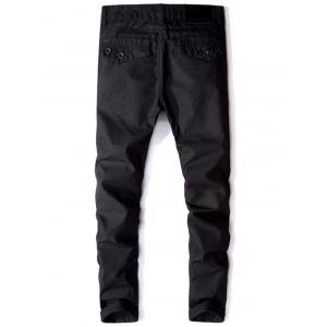 Casual Zip Fly Flap Pocket Straight Pants - Noir 36