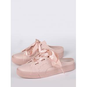 Faux Leather Slip On Flat Shoes - PINK 39