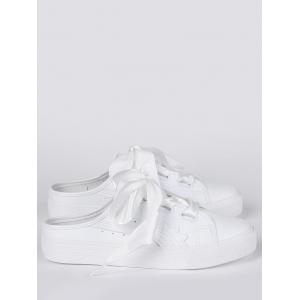 Faux Leather Slip On Flat Shoes - Blanc 37