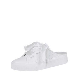 Faux Leather Slip On Flat Shoes - WHITE 37