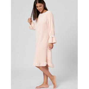 Fuzzy Flounce Winter Pajamas Dress - ORANGEPINK L