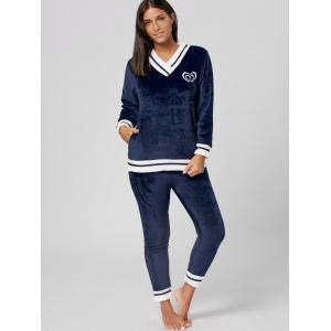 V Neck Winter Fuzzy Pajamas Set - MIDNIGHT L