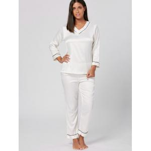 V Neck Satin Long Sleeve PJ Set - WHITE L