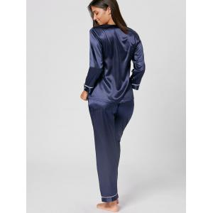 V Neck Satin Long Sleeve PJ Set - PURPLISH BLUE XL