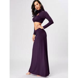 High Waisted Cut Out Two Piece Party Dress - PURPLE XL