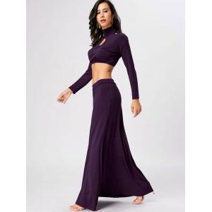 High Waisted Cut Out Two Piece Party Dress - PURPLE 2XL