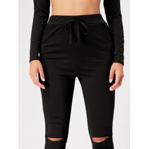 Hooded Crop Top with High Waisted Ripped Pants - BLACK S