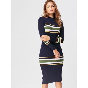 Striped Mock Neck Casual Knit Dress - CERULEAN ONE SIZE