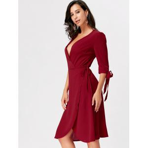 Bowknot Plunging Neckline Midi Wrap Dress - WINE RED S