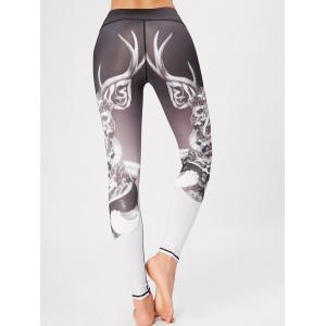 Printed High Waisted Skinny Gym Leggings - COLORMIX S