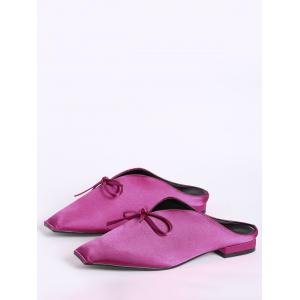 Satin Square Toe Bowknot Slippers - TUTTI FRUTTI 39