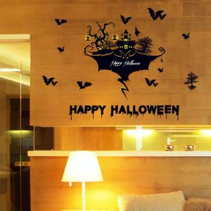 Halloween Castle Bat Wall Art Stickers For Bedroom -