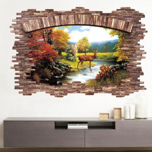 Stream Deer 3D Broken Wall Art Sticker pour chambre à coucher -