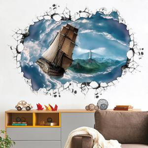 Ocean Ship 3D Broken Wall Art Sticker For Bedroom - BLUE GRAY 60*90CM